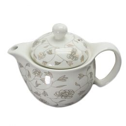White Ceramic Tea Kettle Creative Tea pot With Tea Infuser,floral axis